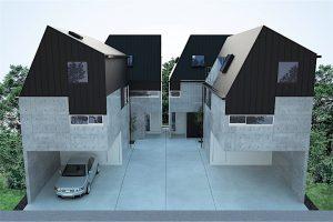 千葉県の4棟建売 戸建住宅のCGパース (外観)建築パース